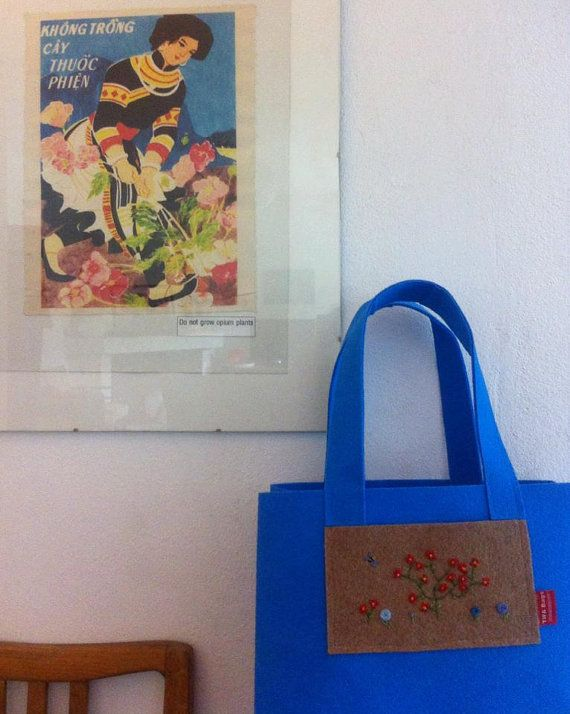 TIFA Bags trendy Nature bag  flowers and bee Handmade by TIFABags