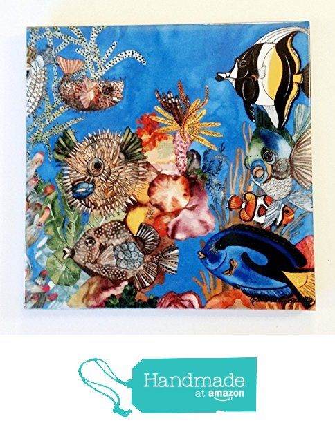 """Tropical Fish Ceramic Tile - """"Underwater Neighborhood"""" Artwork by Candace Lee. Made in Hawaii. Comes in 3 sizes 4.25"""", 6"""" or 8"""". Use as a Wall Hanging or Trivet. from Visions of the Tropics https://smile.amazon.com/dp/B015PF9TA6/ref=hnd_sw_r_pi_dp_A-q6ybCWYAKNG #handmadeatamazon"""