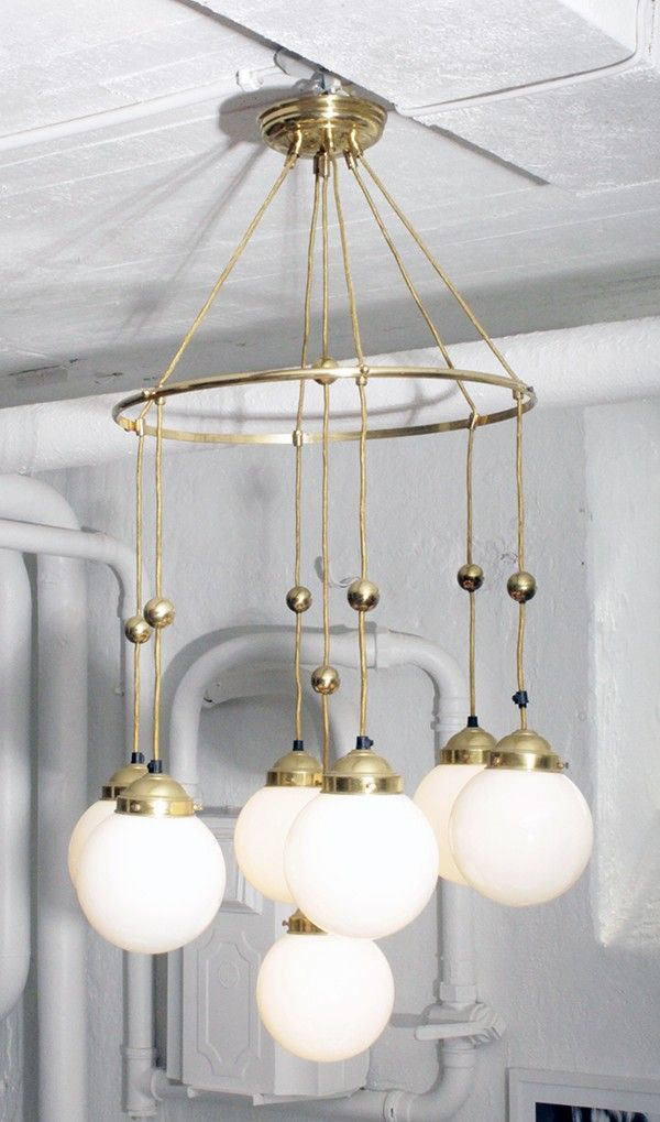 1920's Brass/Globe Chandelier