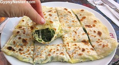 Spinach and feta gözleme in Istanbul, Turkey! See more: http://www.gypsynester.com/istanbul.htm #food #foodiechats #turkey #istanbul