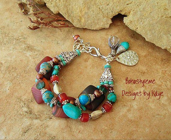 Artisan Bracelet Boho Southwest Jewelry Rustic by BohoStyleMe