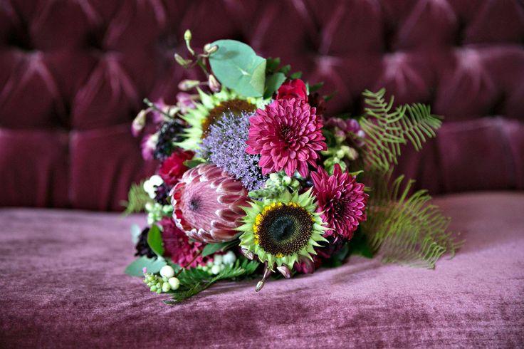 The deep purple protea captures the purple velvet well.