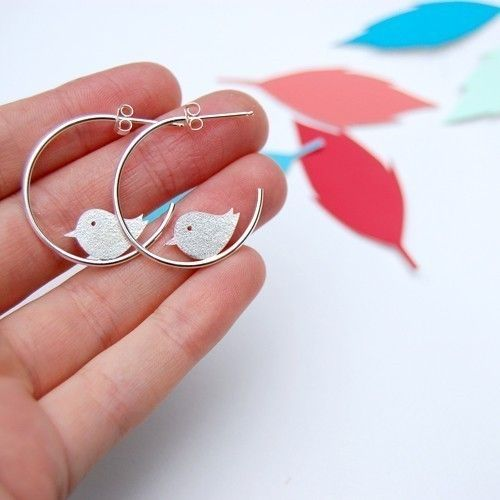 bird earrings from Joannarutter Contemporary Illustrative Hand Crafted Jewellery
