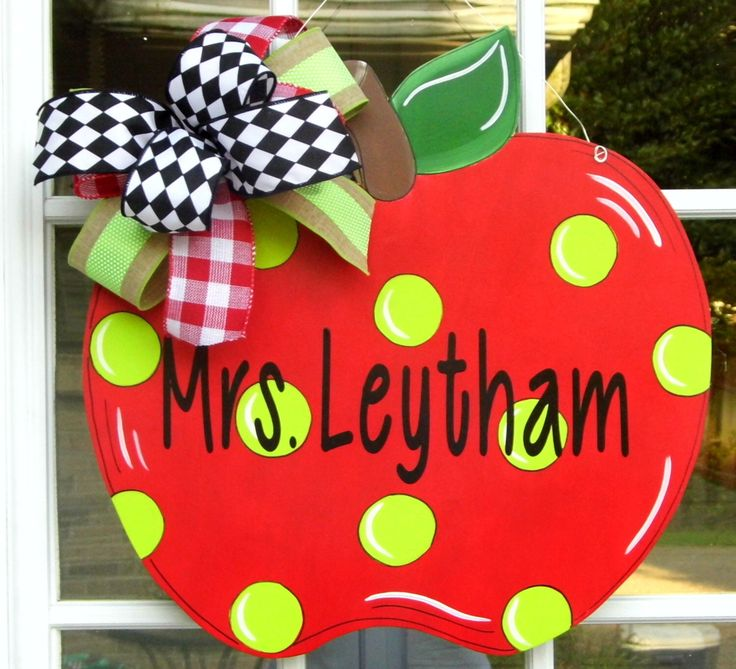 Apple Door Hanger, Teacher Door Hanger, Teacher Gifts, Back To School Door Hanger, Teachers Classroom, Personalize, Welcome Sign, by HolidaysAreSpecial on Etsy https://www.etsy.com/listing/222767258/apple-door-hanger-teacher-door-hanger
