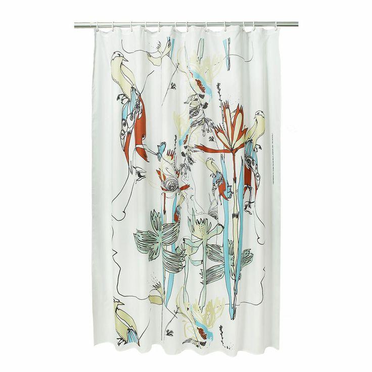 Iso Satakieli shower curtain, White/Black/Green, Marimekko #design #royaldesign #decor #interiordesign #inredning #inspiration #marimekko #art #konst #shower