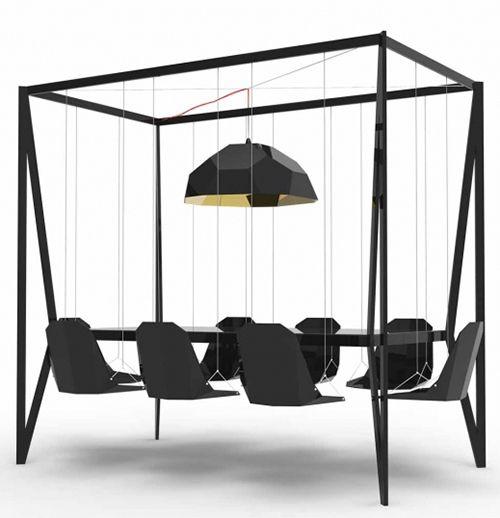 Swing Table Design by Duffy London schommelstoel vergadertafel kantoor zwart