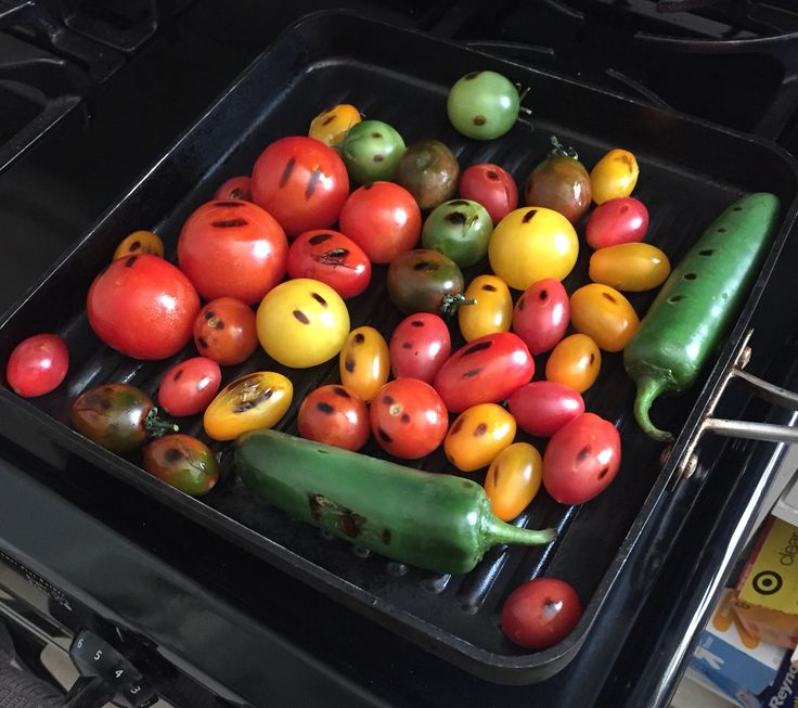 Grilling the veggies for the chilaquiles