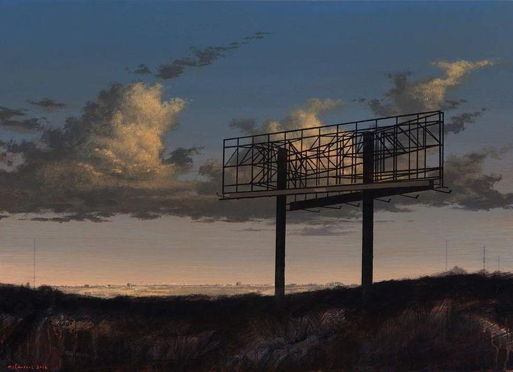 MJ Lourens  Ads Infinitum 50cm x 70cm  #acrylicpainting @barnard_gallery #art #kunst #billboard #nightscape #landscapepainting #artist