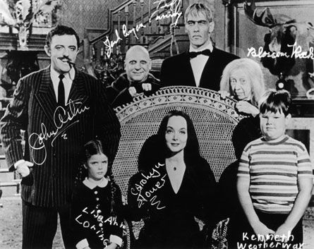 """The original TV Addams Family (rear) Gomez, Uncle """"Fester"""", Lurch, Grand-mama. (front) Wednesday, Morticia and Pugsley"""