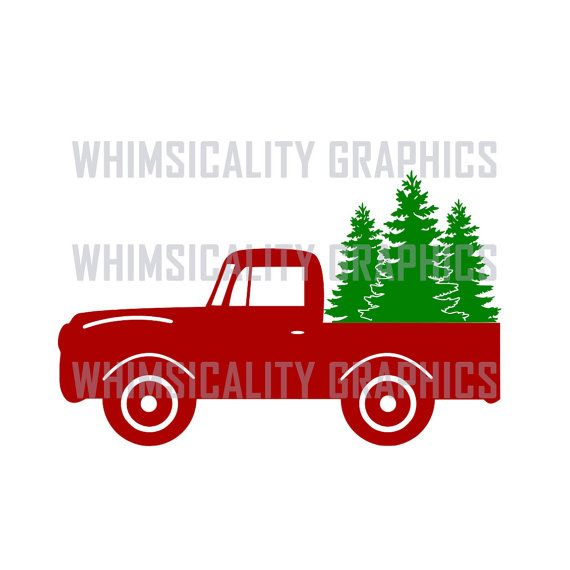 Digital File - Antique Truck With Christmas Trees with svg, dxf, png, eps Commercial & Personal Use