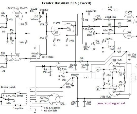 Fender Bassman 5F6-A Tube Amplifier | Fender, Electronic circuit projects,  Amplifier | Bassman Bass Amp Schematic |  | Pinterest
