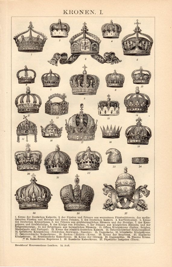 1908 Antique Crowns Print, Monarch Crown, Imperial State Crown, German Crown, Spanish Monarchy, Portugal, Brazil, Netherlands, Russia, Tiara