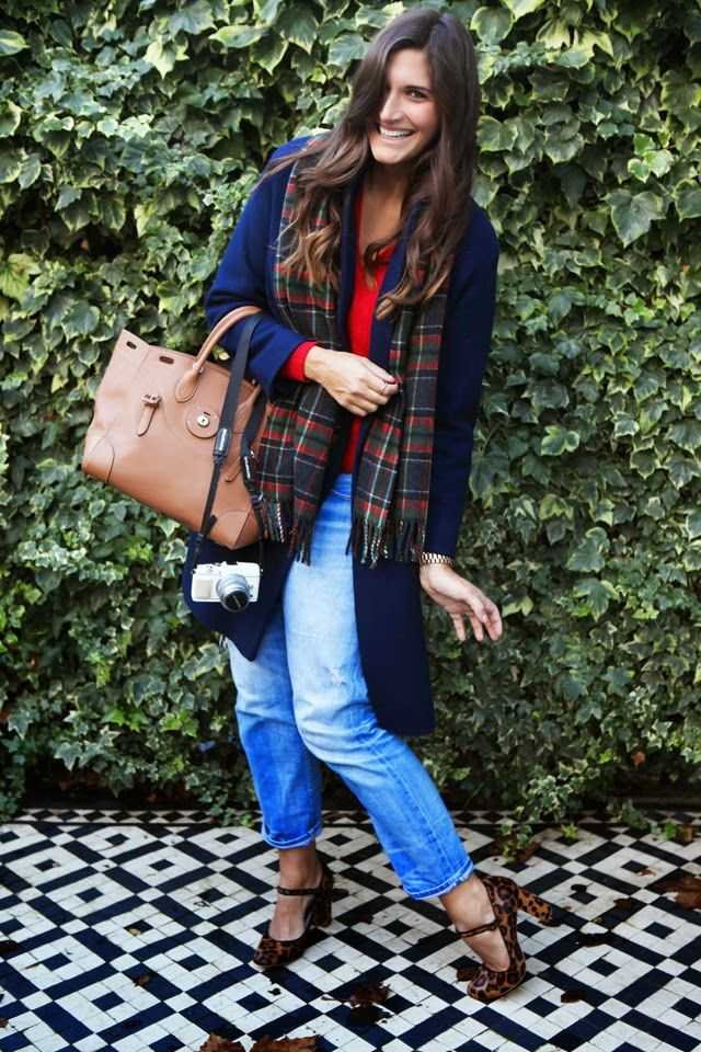 A navy blue oversized coat, plaid scarf, boyfriend jeans and a great brown Ralph Lauren Ricky Bag with Boden Leopard Print Heels.
