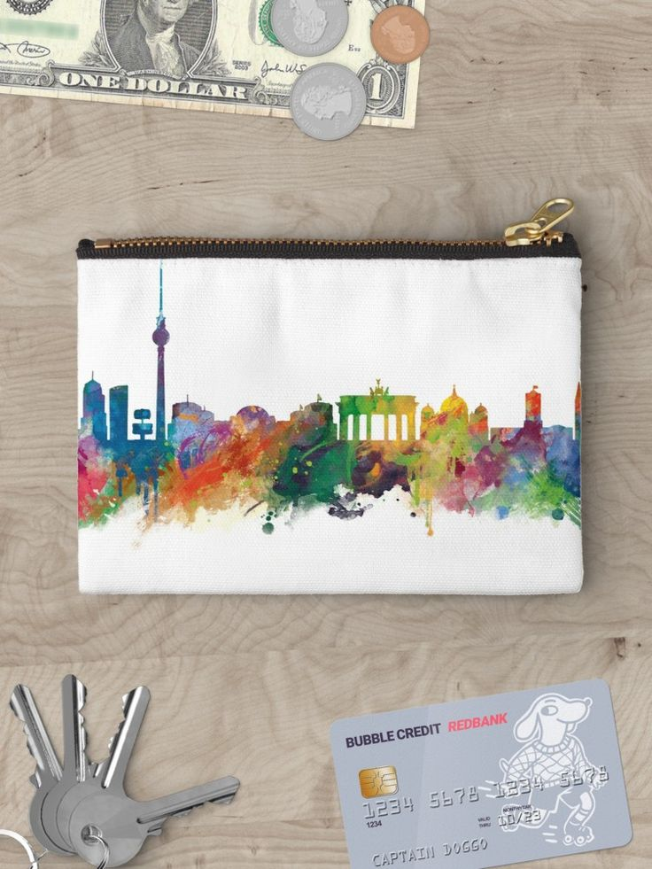 Berlin   #berlin #skyline #landscape #cityscape #art #print #studio #pouches #women #hand #bags #style #gift #ideas #travel #colorful #europe #deutschland #germany #german #city #architecture #tower #abstract #watercolor #minimalist