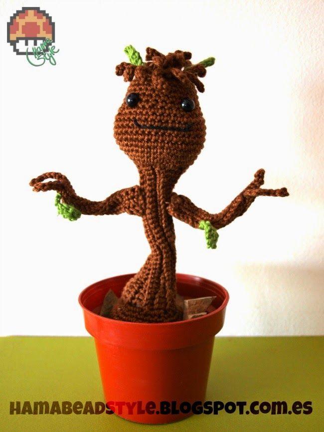 Hama Style & Amigurumis: Baby Groot - Amigurumi [patrón GRATIS]