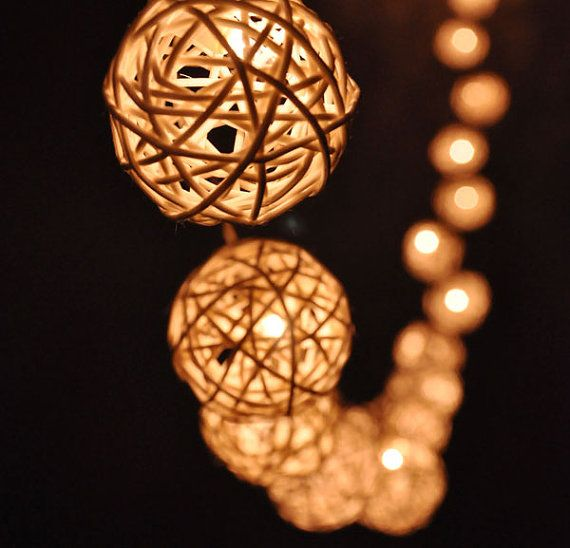 20 Bulbs Handmade Classic White Rattan ball string lights for Patio,Wedding,Party, Christmas Light, Party Lights and Decoration on Etsy, $16.50 CAD