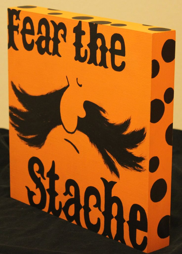 OSU Black & Orange Fear the Stache Polka Dot Free Standing Hand Painted Wood Sign Perfect for any Oklahoma State Cowboy Fan! by petesboutique on Etsy