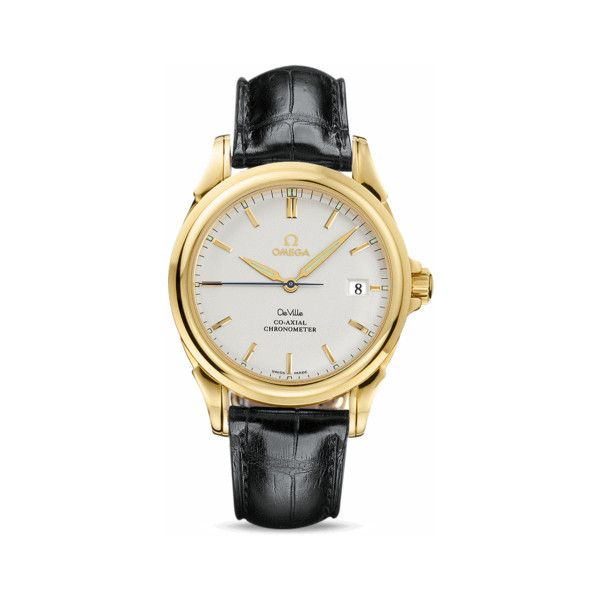 OMEGA Watches: De Ville Co-Axial Chronometer - Yellow gold on leather strap found on Polyvore