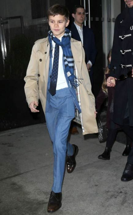 Romeo Beckham leaving the hotel in New York City in February 2017...