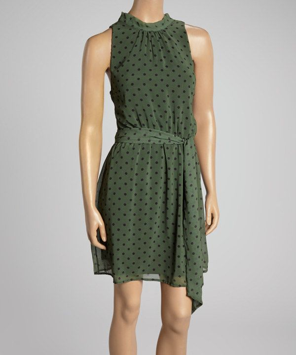 This Sweet Pea by Stacy Frati Army Green Polka Dot Sleeveless Dress by Sweet Pea by Stacy Frati is perfect! #zulilyfinds