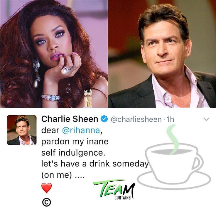 Should she go?! Actor #CharlieSheen tweets #Rihanna.