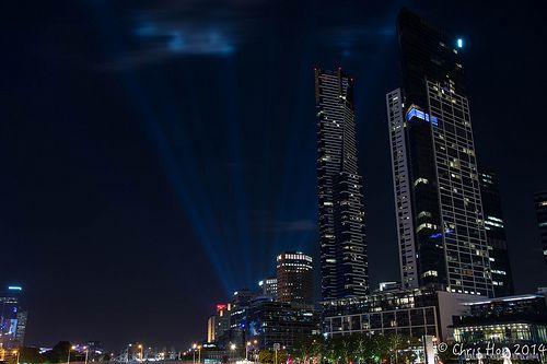 Eureka Tower during the Melbourne White Night festival of light.