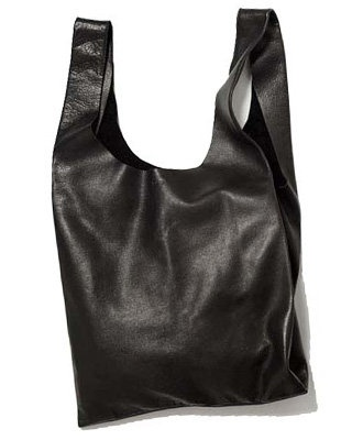 Baggu black leather minimalistic carryall tote with raw edges