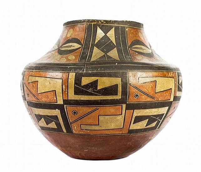 Native American Historic Acoma Poly chrome Pottery Olla 42. Native American, historic Acoma poly chrome, pottery Olla, Ca 1890 -1900, with in-curved neck, wide body and tapered base, the upper part de