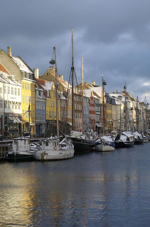 ✭ Denmark, Copenhagen, Nyhavn, boats moored on waterfront, frozen canal