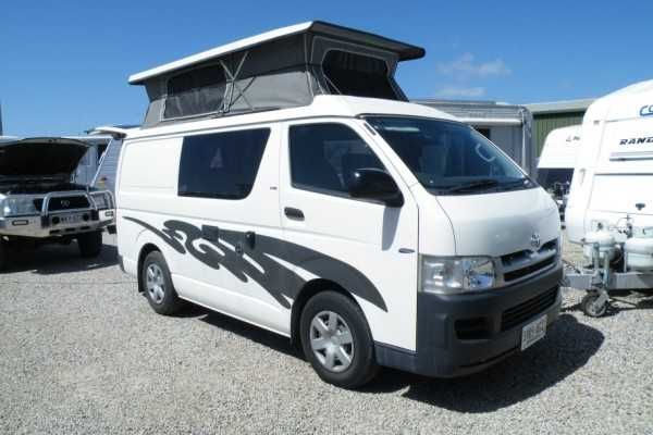 Toyota Hiace built 2007 first registered 2010.....only 31,412kms on clock! Diesel......manual....seating for 5.....2 burner cooker....engle fridge.... double bed....pop-top.....fiama roll out awning.....Inspection welcome More photos to come vehicle is being detailed tomorrow. Aldinga Beach Motorhomes LVD 263585....Lot 118 Lacey Drive Aldinga Beach SA 5173.....PH: 08 71232612.... $37,999.00 AUD