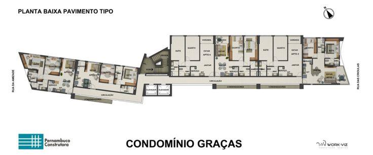 Planta Baixa - Pavimento Tipo - Graças Prince Vanguard - Pernambuco Construtora