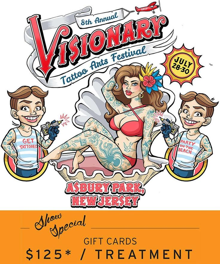 Tomorrow starts the @visionarytattoofest in Asbury Park NJ!  This is one of our favorite conventions of the year and it's on the beach in a historic convention hall.   We'll be selling gift cards for $125 (max 2) Friday through Sunday doing free consultations and booking appointments.  Stop by our booth and enter to win a FREE tattoo removal treatment too!   Our office will be open through the entire convention offering treatments at the same show special pricing and selling gift cards…
