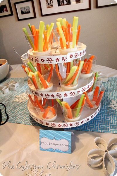 """""""Veggies in the Snow"""" Super cute winter onederland party with lots of great ideas"""