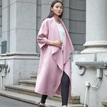 Rosy pink midi winter cashmere coat for woman plus size wool trench coat with big cuffs  Best Buy follow this link http://shopingayo.space