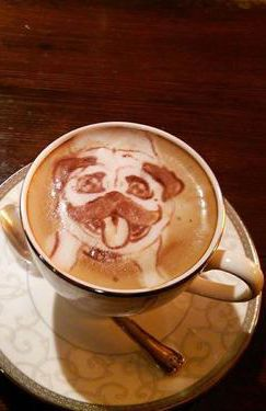 Pug dog Latte Art. Awww, I can imagine Eggsy always visiting a cafe with JB, and he gets served this one morning