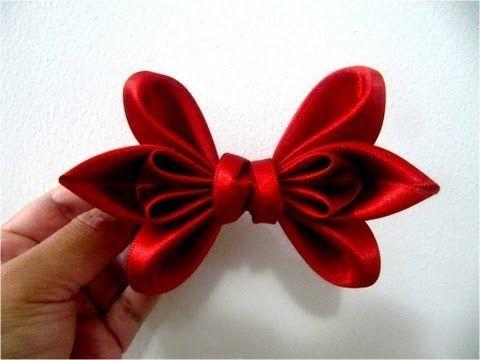 ▶ Moños dos pétalos en cintas para el cabello - YouTube