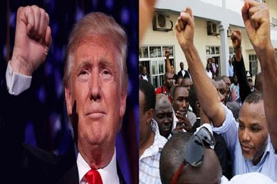 IPOB MASSOB write Donald Trump   Director Radio Biafra and leader of Indigenous People of Biafra IPOB Mr. Nnamdi Kanu has written the United States of Americas President-elect Donald Trump over his victory urging him to bring positive changes in the affairs of humanity. Also leader of the Movement for the Actualization of the Sovereign State of Biafra MASSOB Mr. Uchenna Madu wrote Mr. Trump promising that his group will work with him for total breakthrough in the political economical…