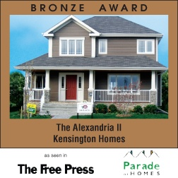 The Alexandria II - New home builder Kensington Homes wins awards for newly built residential home construction in Winnipeg Manitoba