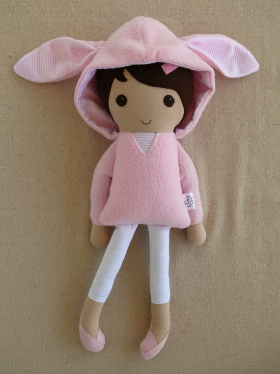 Reserved for masonml24 -  Fabric Doll Rag Doll Brown Haired Girl in Pink Bunny Ear Hoodie