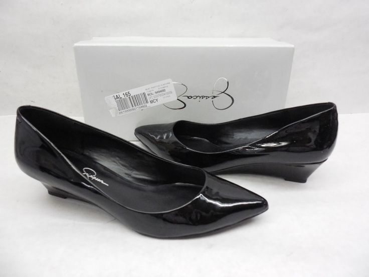 Jessica Simpson Rosse Womens Black Patent Leather Pointed Wedge Flats 8