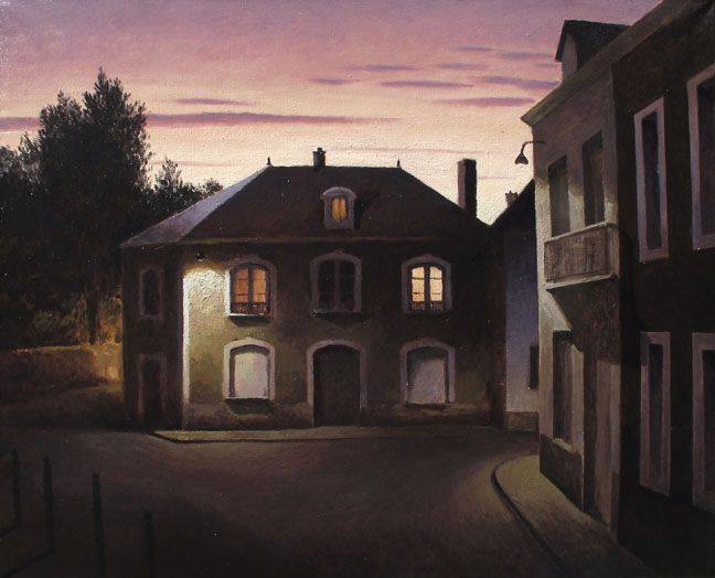 "Marc Chalmé, La place à l'aube, 2013, Oil On Canvas, 39"" x 32"" #art #axelle"