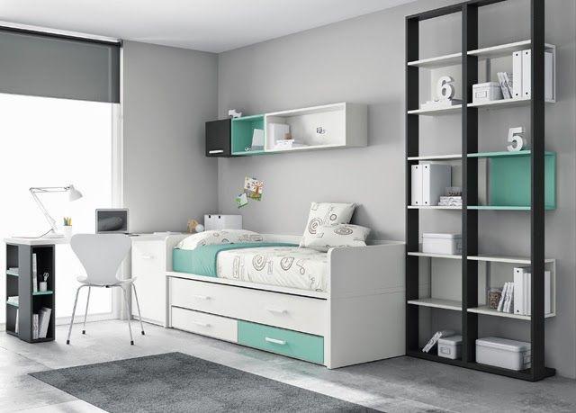 Dormitorios juveniles  Habitaciones infantiles y mueble juvenil Madrid: Cama compacta con cama desplazable