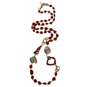 collar coral rojo y perlas barrocas blancas www.sanci.es