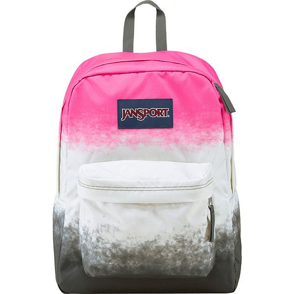 JanSport SuperBreak Backpack ($30) ❤ liked on Polyvore featuring bags, backpacks, pink, school & day hiking backpacks, knapsack bags, pocket backpack, jansport bags, jansport and handle bag