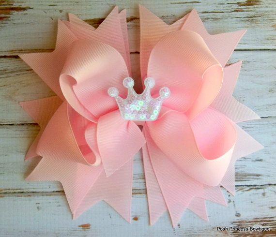 Hair bow Headband Pink Princess Tiara Stacked by PoshPrincessBows1