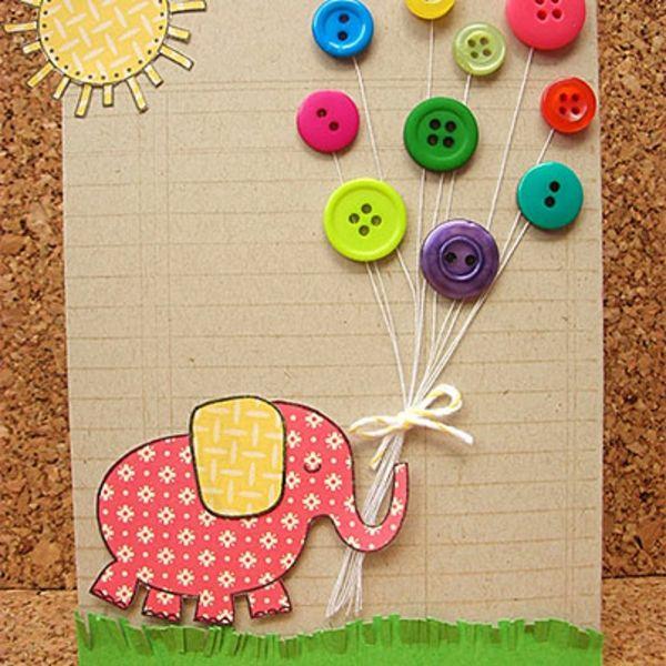do-it-yourself-ideen-geburtstagskarte- bunte knöpfe - Basteln mit Knöpfen – 26 super kreative Ideen