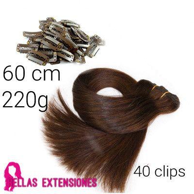 Extensiones Cortina Lisa 60cm 220 Grs 40 Clips De Regalo Extensiones Extensiones De Cabello Clip