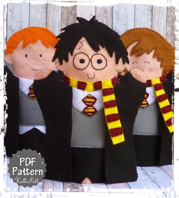 Títeres para mano de Harry Potter / Harry Potter Hand Puppets - PDF Pattern on Etsy, $4.50 per character.