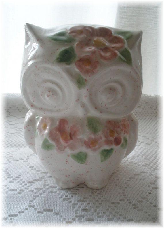 Owl Home Decor  Bank Vintage design  in Pinks by Angelheartdesigns, $28.00