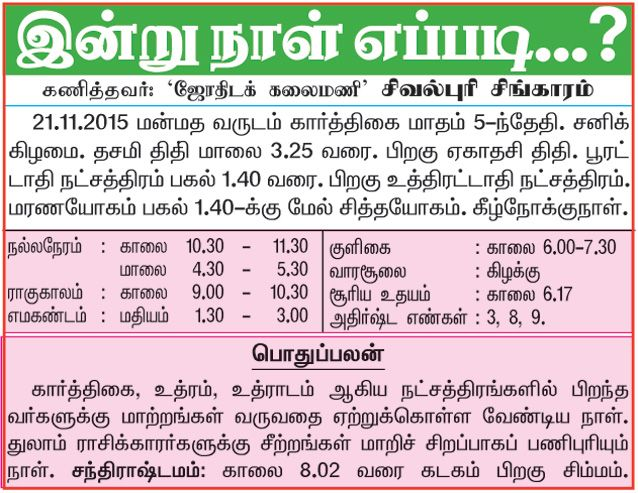 Daily Thanthi: Astrology Newspaper